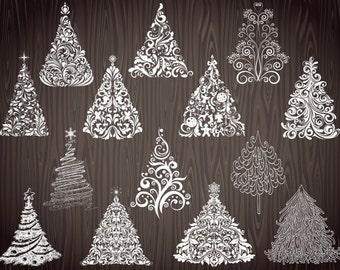 Instant Download Digital Chalkboard Christmas Tree Clip Art Chalkboard Flourish Swirls Christmas Tree Clipart Hand Drawn Christmas Tree 0056