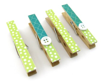 Decorative Clothespin Magnets, Set of 4, Magnetic Clips, Refrigerator, Magnet Clips, Strong Magnets, Buttons, Turquoise, Lime Green, Dot