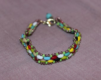 Multi-Colored Beaded Bracelet with Bronze Accents