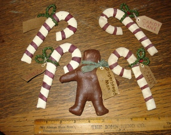 Primitive Fabric Candy Canes (4) and Gingerbread Man Christmas Ornaments, Tucks
