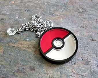 Pokeball - Pokemon Laser cut mirror acrylic necklace or brooch