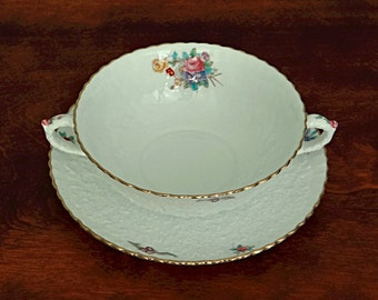 Spode Dresden Rose Cream Soup Bowl and Plate Savoy Design