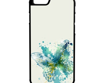 Turquoise Butterfly iPhone Galaxy Note LG HTC Hybrid Rubber Protective Case