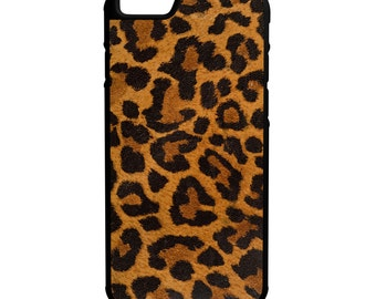 Leopard Cheetah Animal Print iPhone Galaxy Note LG HTC Protective Hybrid Rubber Hard Plastic Snap on Case Black