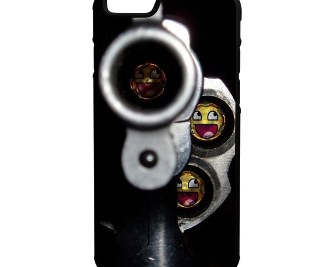 Emoji Gun Barrel Revolver iPhone Galaxy Note LG HTC Protective Hybrid Rubber Hard Plastic Snap on Case Black