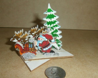 Vintage Christmas wooden expandable Santa reindeer trees Japan made of wood decoration ornament