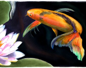 9 koi fish painting etsy for Blue and orange koi fish
