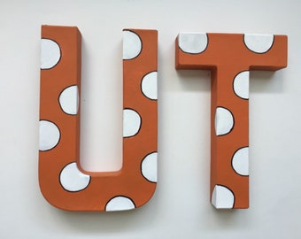 University of Texas handpainted polka dot letters