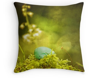 Egg Pillow, Spring Decor, Woodland Pillow, Robins Egg, Moss Green Pillow, Nature Pillow, Robin Egg Pillow, Woodland Cushion, Woodland Decor