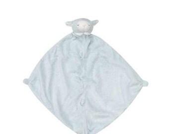 Monogrammed Blue Lamb Lovie / Angel Dear / Personalized Blankie / Security Blanket / Baby Blankie Gift / Animal Blankie