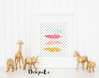 Quote Print - Watercolor feather set