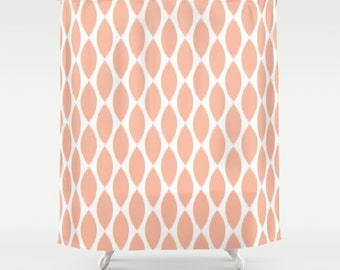 Shower Curtain, Peach Shower Curtain, Peach, Ikat Shower Curtain, Teen Shower Curtain, Girls Shower Curtain, Teen Decor, Bathroom Decor