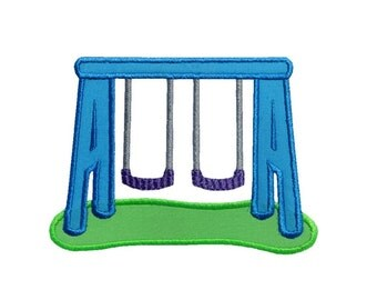 Swing Set Applique Machine Embroidery Digital Design Swingset Park Playground Swinging Slide