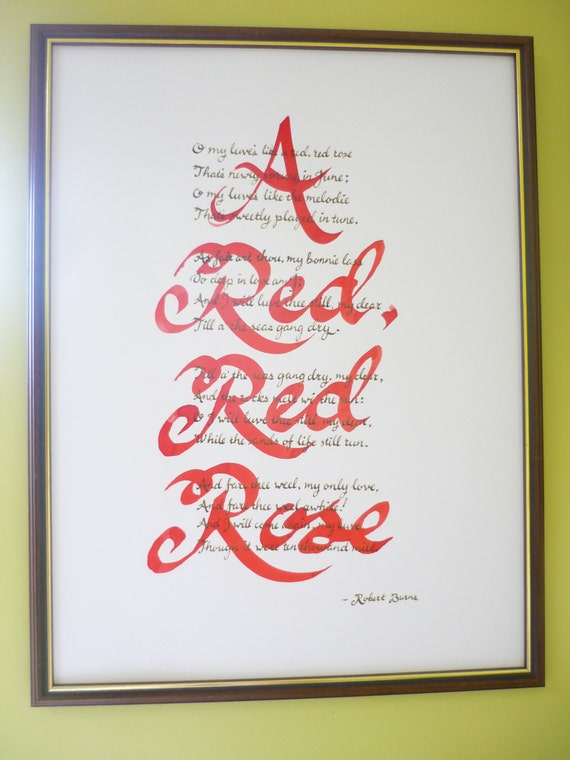A Red Red Rose Robert Burns Poem In Hand Written