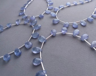 "Tanzanite Beads 24ct Genuine AA Tanzanite Smooth Pear Drop Briolettes Beads 9"" Strand Free Ship TN4V6A0001"