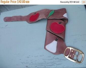 On Sale Vintage 1960s 1970s Mod Fruit Leather Waist Belt Apple Pear Overlay