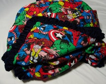 "Marvel Comics Blanket Superhero Toddler/Adult Lap Lightweight Quilt 42""x 70"" w/Navy Velour Lambskin"