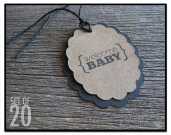 Oval Welcome Baby Gift Tag - set of 20
