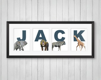 Personalized Name Print - African Animals Print - Kids Room Decor - Baby Nursery Decor - Childrens Room - Individual 4x6, 5x7 or 8x10 Prints