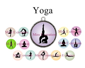 Yoga plank of digital images for 25mm and 20mm and 18mm round cabochon
