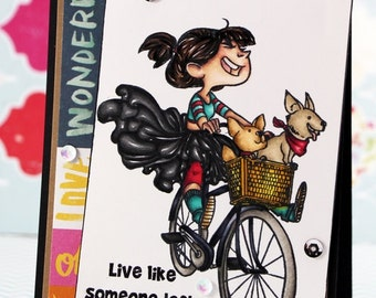 Girl on bike with dogs Card