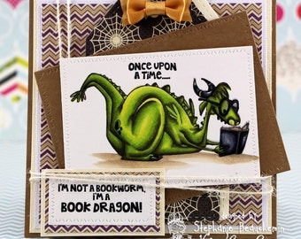 Reading dragon with books Card