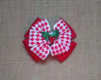 Christmas Hairbow, Holiday Hairbow, Christmas Holly Bow, Toddler Hairbow, Girls Hair Accessory, Girls Christmas Bow, Red Christmas Bow