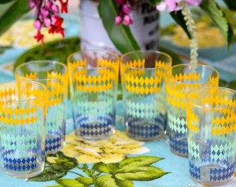 Vintage 1960s Set of 6 Collectible Mid Century Green, Blue and Yellow Harelequin Drinking Glasses