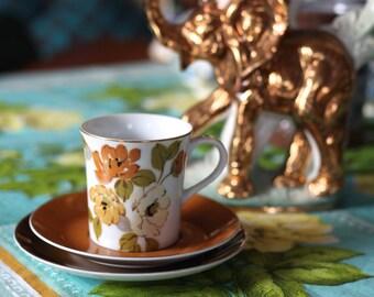 Vintage Royalty Yamato Japan Tea Cup, Saucer & Plate Trio *Autumn Floral
