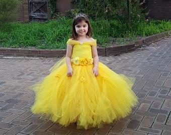 Beautiful Yellow Princess Tutu gown with Rhinestone - Perfect for Weddings, Photo Shoots, etc