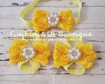 Yellow barefoot Sandals with matching headband  - Flower Bow Headband - Birthday girl Headband