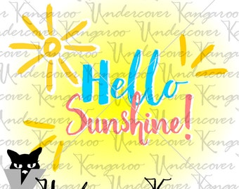 Hello Sunshine-SVG Cutting File, Perfect for Summer Scrapbooking and Crafts, Commercial Use Allowed