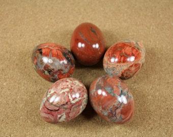 Brecciated Jasper Stone Egg - Red Orange Ivory and Black Jasper Eggs