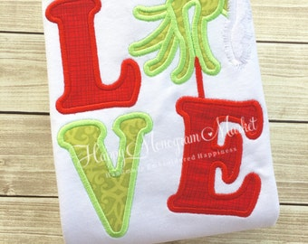 Love Mean One Green Hand Christmas Thief Appliqué Shirt T-Shirt Bodysuit