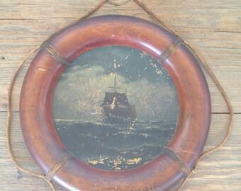 Vintage Coastal / Antique Nautical / Life Ring / Vintage Ship Art  / Antique Ship / Coastal Decor / Original Painting / Pirate Ship / Beach