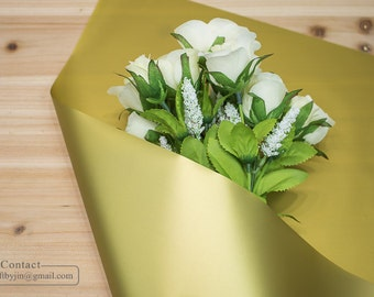 Waterproof Flower bouquet gift wrapping paper roll_Waterproof Flower Handtied bouquet wrapper_Gold Silver Green flower wrapping paper