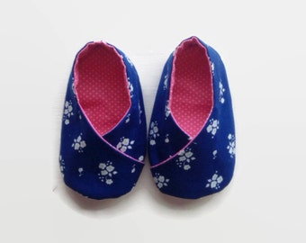 Baby Shoes - Kimono Style - Navy Blue/Pink, Baby Shoes Girl, Baby Shoes for Girl, Baby Shoes Handmade