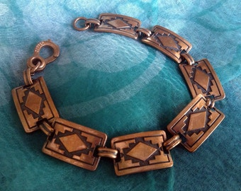1960s - 1970s Vintage 100% Copper Link Bracelet - Southwest Navajo Blanket Designs - Marked, Excellent Condition, Native American Jewelry