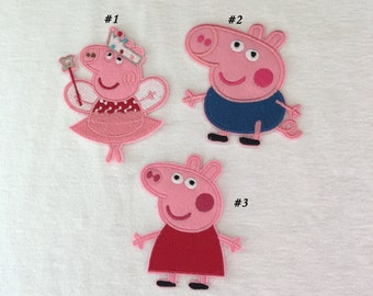Cartoon Peppa Pig Iron On Embroidered Patches