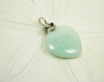Natural Jade Heart Pendant/ Jade Heart Charm/ Love