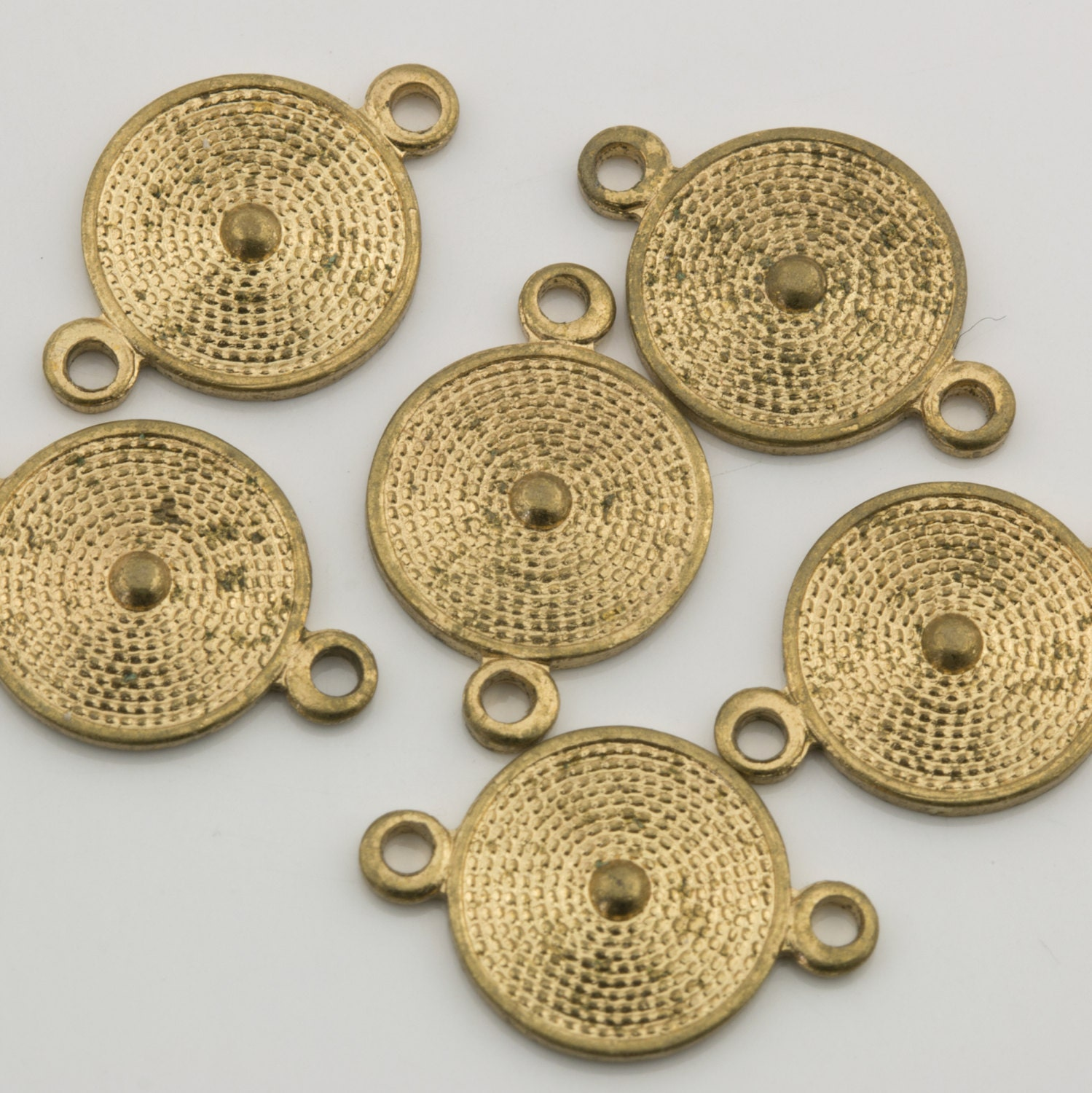 Vintage gold tone round connector charm mm pcs for
