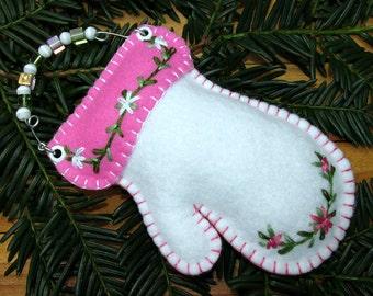 Wool Felt Embroidered White Mitten Beaded Ornament Hanger