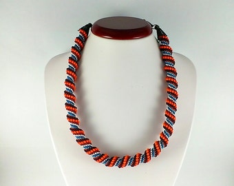 Spiral rope necklace Seed bead necklace Beadwoven choker necklace Ethnic beadwork Chocolate orange  necklace Beaded collar Necklace of beads