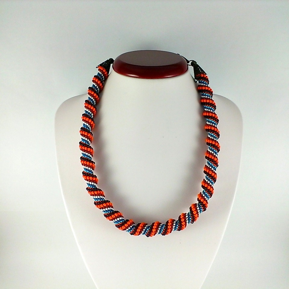 spiral rope necklace seed bead necklace beadwoven choker
