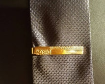 Vintage Speidel Tie bar gold   tone ,textured ,made in USA pattern,Groomsmen,fathers day gift,Mod Style
