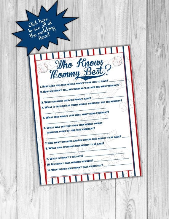 baseball baby shower who knows mommy best game printable instant