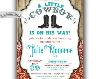 little cowboy baby shower invitations cowboy theme shower turquoise and red invites baby