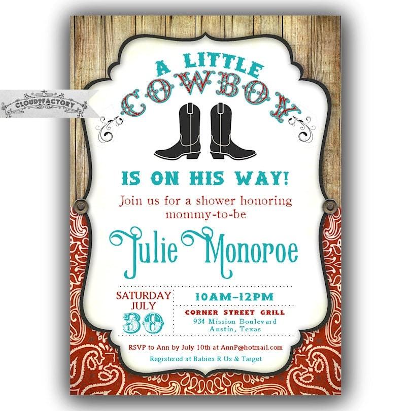 Baby Shower Cowboy Theme: Little Cowboy Baby Shower Invitations Cowboy Theme Shower
