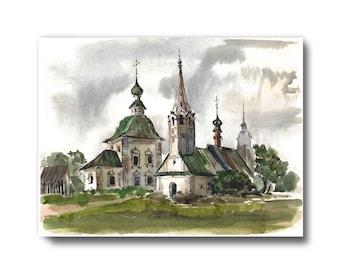 prints, rustic old church, architecture, summer landscape, watercolor architecture rustic, Country Landscape, wall decor, home decor