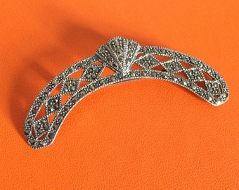 Sterling Silver Tiara shaped marcasite Brooch, Art Deco vintage Pin, Decoration